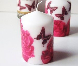 decoupage on candles